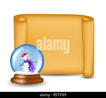 Christmas paper scroll card with snowglobe. Vector illustration isolated on white background. - Stock Photo