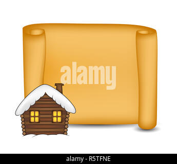 Christmas paper scroll card with snowy cabin. Vector illustration isolated on white background. - Stock Photo