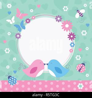 Flowery love birds border with bumble bee, ladybugs and butterflies on green and pink heart shape and polka dot pattern background