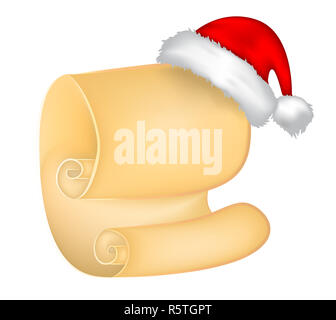 Christmas paper scroll card with santa cap,hat. vector illustration isolated on white background. - Stock Photo