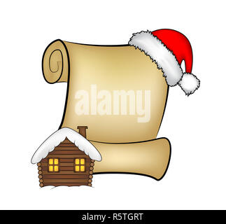 Christmas paper scroll card with santa cap,hat and snowy house. vector illustration isolated on white background. - Stock Photo