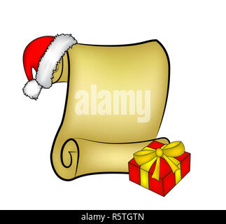 Christmas paper scroll card with santa cap,hat and gift. vector illustration isolated on white background. - Stock Photo