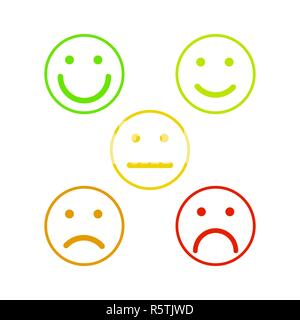 Face emoticons for rate of satisfaction level, five outline colorful grade smileys isolated on white - Stock Photo