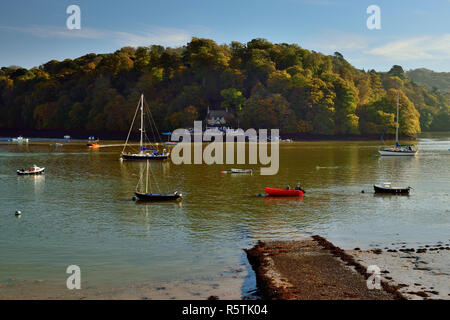 Greenway Quay, seen from across the river Dart at Dittisham. - Stock Photo