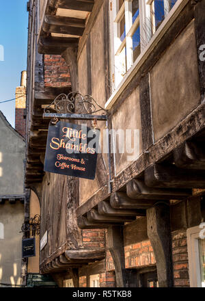 The Shambles in York city centre, popular narrow street for shops, tearooms etc. - Stock Photo