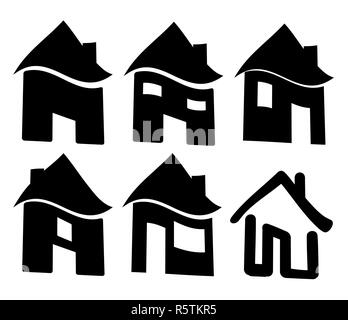 Set of black web home icon, symbol. Vector illustration isolated on white background. - Stock Photo