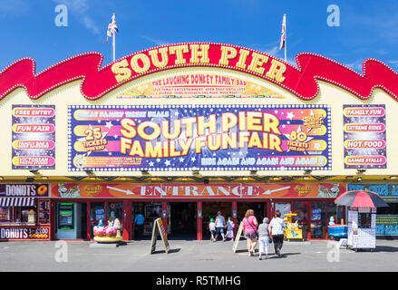 Blackpool Entrance to the iconic South Pier Blackpool funfair and amusement park on the seafront Promenade Blackpool Lancashire England UK GB Europe - Stock Photo