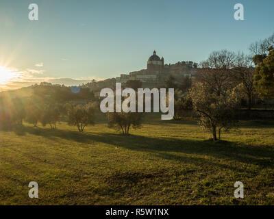 The town of Montefiascone with the Basilica of Santa Margherita, Viterbo province, Lazio Region, Italy. - Stock Photo