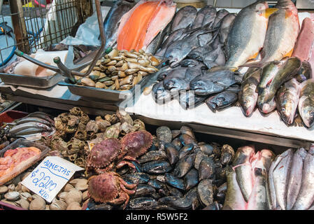 crustaceans,seafood and fish at a market in santiago de chile - Stock Photo
