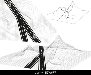Road, highway in 3D. View from above and in Perspective. Highway design. Skeletal Framed Landscape. illustration - Stock Photo