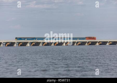Train over a lake - Stock Photo