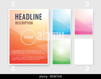 Vector set of abstract backgrounds different colors on blank A6 format for brochure, catalog. - Stock Photo