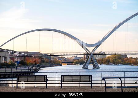 infinity bridge across river tees, north east england Stock Photo