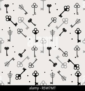 Simple black and white seamless pattern with different keys silhouettes, vector illustration eps10 - Stock Photo