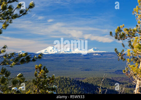41,987.07154 snow covered landscape of the Three Sisters Mountains (& Broken Top Mt) nestled in Three Sisters Wilderness Area of Oregon, USA - Stock Photo