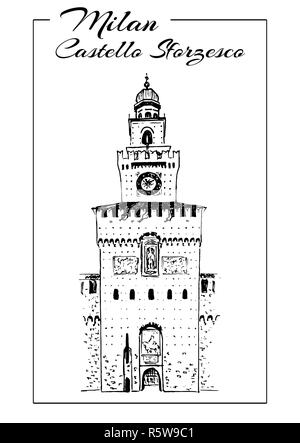 Sforza Castle or Castello. Sforzesco sketch illustration. Medieval castle in Milan - Stock Photo