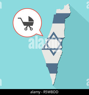Animation of a long shadow Israel map with its flag and a comic balloon with a baby carriage - Stock Photo