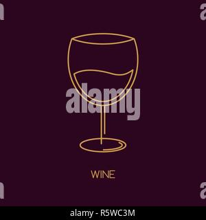 Glass vector icon line style with liquid. - Stock Photo