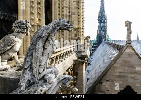 Stone statues of chimeras overlooking the rooftop and spire of Notre-Dame de Paris cathedral from the towers gallery. - Stock Photo