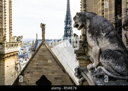 Stone statues of chimeras overlooking the rooftop and spire of Notre-Dame de Paris cathedral from the towers gallery with the city vanishing in the mi - Stock Photo