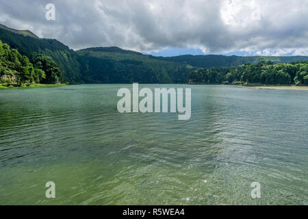 Close view of Lagoa Verde, Siete Cidades, Sao Miguel, Azores, Portugal - Stock Photo