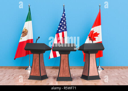 United States Mexico Canada Agreement, USMCA or NAFTA meeting concept. 3D rendering - Stock Photo