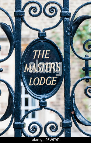 A sign on the gate at the entrance to The Master's Lodge, Jesus College, Cambridge. - Stock Photo