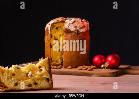 Italian Christmas cake. Home made Panettone - Stock Photo