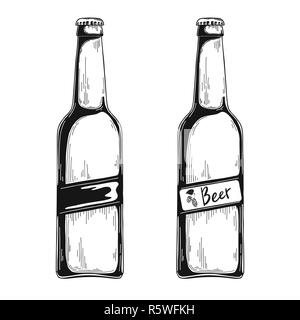 Set of beer bottles. Vector illustration. Sketch - Stock Photo