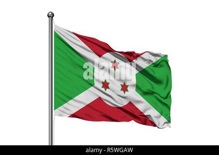 Flag of Burundi waving in the wind, isolated white background. Burundian flag. - Stock Photo