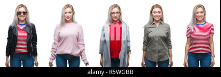 Collage of beautiful blonde young woman over isolated background with a happy and cool smile on face. Lucky person. - Stock Photo