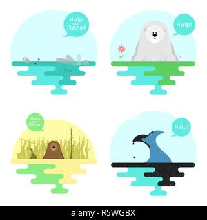 Illustration on the theme of global warming. Illustration on the theme of pollution of the ocean. Vector - Stock Photo