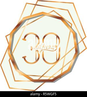 number 30 for anniversary celebration card icon - Stock Photo