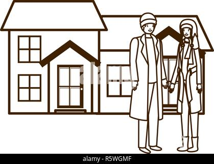 couple with house in winter avatar character - Stock Photo
