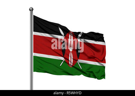 Flag of Kenya waving in the wind, isolated white background. Kenyan flag. - Stock Photo
