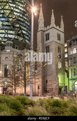 England, City of London, St Andrew Undershaft Church- historic Church amid modern offices.15th-century church that survived 1666's Fire of London and  - Stock Photo