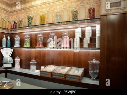 Bar Luce at Fondazione Prada, designed by director Wes Anderson. Milano, 2018 - Stock Photo