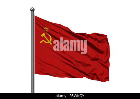 Flag of Soviet Union waving in the wind, isolated white background. USSR Flag. - Stock Photo