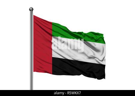 Flag of United Arab Emirates waving in the wind, isolated white background. UAE flag. - Stock Photo
