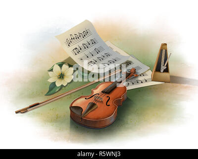 Still life with violin, metronome and some music sheets. Digital illustration. - Stock Photo