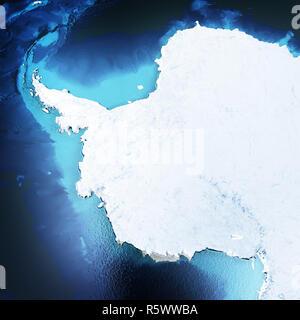 Antarctica, South Pole 3d rendering - Stock Photo