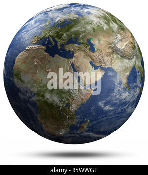 Earth globe - Africa, Europe and Asia 3d rendering - Stock Photo