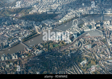 London aerial shot showing key tourist attractions and places including Buckingham Palace, Nelson's column and the Houses of Parliament - Stock Photo