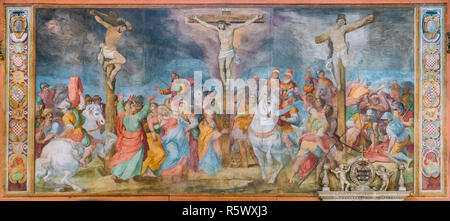 Crucifixion fresco by Giovanni Battista Ricci in the Church of San Marcello al Corso. Rome, Italy. - Stock Photo