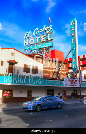 The old 1950s El Cortez hotel on Freemont Street in Downtown Las Vegas, Nevada - Stock Photo