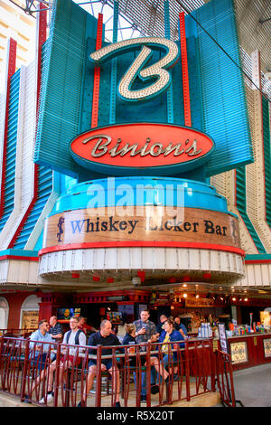 Binions Gambling Hall on Freemont Street in old downtown Las Vegas, Nevada - Stock Photo