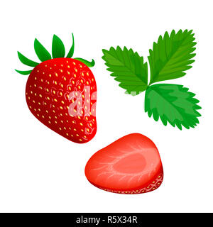 Ripe juicy Strawberry with leaf isolated on white. Whole and slice