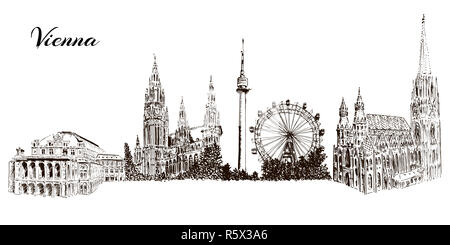 Set of Vienna symbols silhuettes. Cityline. Donauturm, Stephansdom, Rathaus, Prater, Vienna State Opera House. - Stock Photo
