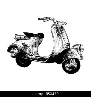Vintage motor scooter. vector illustration, hand graphics - Old turquoise scooter. Italy - Stock Photo
