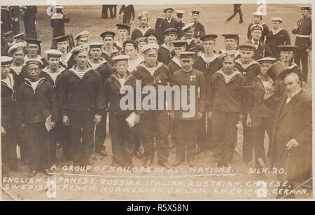 * Vintage 1911 Portsmouth, Hampshire Photographic Postcard Showing Sailors of All Nations at a Naval Review in 1911 for The Coronation of King George V. English, Japanese, Russian, Italian, Austrian, Chinese, Swedish, French, Norwegian, Chilian, American and German. - Stock Photo